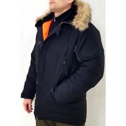 Куртка зимняя - «Аляска» (реплика мужская парка  Alpha Industries), черная