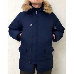 Куртка зимняя, мембранная «Аляска» (реплика мужская парка  Alpha Industries) , синяя